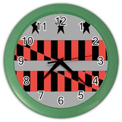 Falg Sign Star Line Black Red Color Wall Clocks