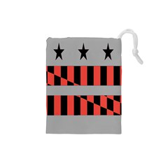 Falg Sign Star Line Black Red Drawstring Pouches (small)