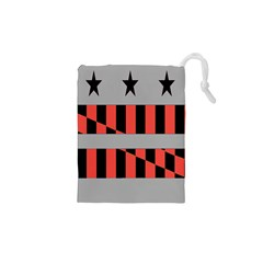 Falg Sign Star Line Black Red Drawstring Pouches (xs)  by Alisyart