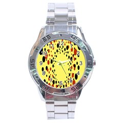 Gradients Dalmations Black Orange Yellow Stainless Steel Analogue Watch