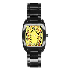 Gradients Dalmations Black Orange Yellow Stainless Steel Barrel Watch by Alisyart