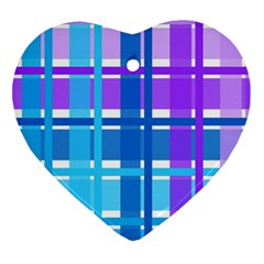Gingham Pattern Blue Purple Shades Sheath Ornament (heart) by Alisyart