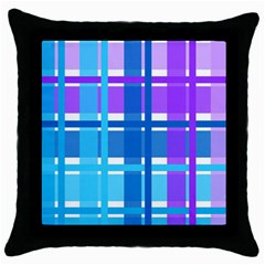 Gingham Pattern Blue Purple Shades Sheath Throw Pillow Case (black) by Alisyart