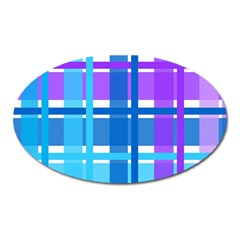Gingham Pattern Blue Purple Shades Sheath Oval Magnet