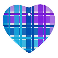 Gingham Pattern Blue Purple Shades Sheath Heart Ornament (two Sides)