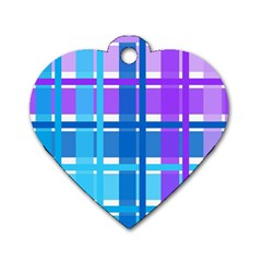 Gingham Pattern Blue Purple Shades Sheath Dog Tag Heart (one Side)