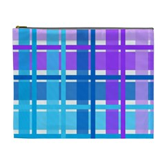 Gingham Pattern Blue Purple Shades Sheath Cosmetic Bag (xl) by Alisyart
