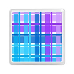 Gingham Pattern Blue Purple Shades Sheath Memory Card Reader (square)  by Alisyart