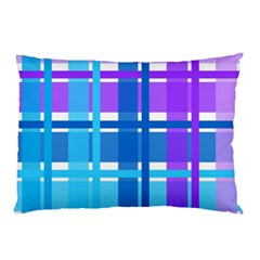 Gingham Pattern Blue Purple Shades Sheath Pillow Case (two Sides) by Alisyart