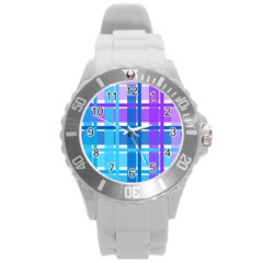 Gingham Pattern Blue Purple Shades Sheath Round Plastic Sport Watch (l)