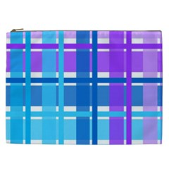 Gingham Pattern Blue Purple Shades Sheath Cosmetic Bag (xxl)