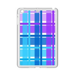 Gingham Pattern Blue Purple Shades Sheath Ipad Mini 2 Enamel Coated Cases