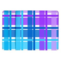 Gingham Pattern Blue Purple Shades Sheath Samsung Galaxy Tab 10 1  P7500 Flip Case
