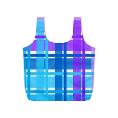 Gingham Pattern Blue Purple Shades Sheath Full Print Recycle Bags (s)  by Alisyart