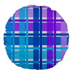 Gingham Pattern Blue Purple Shades Sheath Large 18  Premium Flano Round Cushions