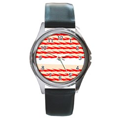 Chevron Wave Triangle Red White Circle Blue Round Metal Watch by Alisyart