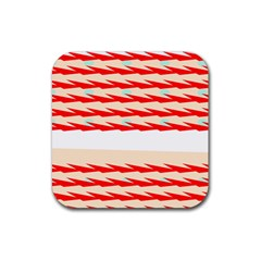 Chevron Wave Triangle Red White Circle Blue Rubber Coaster (square)  by Alisyart