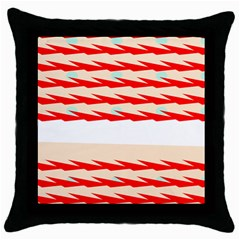 Chevron Wave Triangle Red White Circle Blue Throw Pillow Case (black) by Alisyart