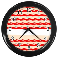 Chevron Wave Triangle Red White Circle Blue Wall Clocks (black) by Alisyart