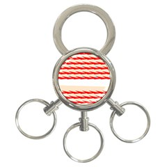Chevron Wave Triangle Red White Circle Blue 3 Ring Key Chains by Alisyart