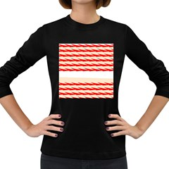 Chevron Wave Triangle Red White Circle Blue Women s Long Sleeve Dark T Shirts