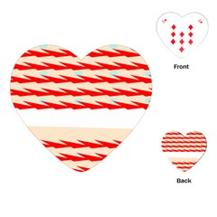 Chevron Wave Triangle Red White Circle Blue Playing Cards (heart)