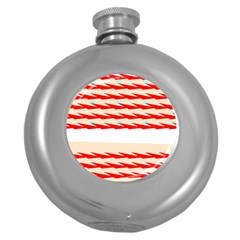 Chevron Wave Triangle Red White Circle Blue Round Hip Flask (5 Oz) by Alisyart