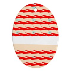 Chevron Wave Triangle Red White Circle Blue Oval Ornament (two Sides) by Alisyart