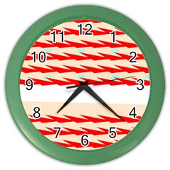 Chevron Wave Triangle Red White Circle Blue Color Wall Clocks