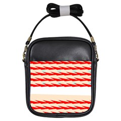 Chevron Wave Triangle Red White Circle Blue Girls Sling Bags