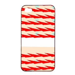 Chevron Wave Triangle Red White Circle Blue Apple Iphone 4/4s Seamless Case (black)