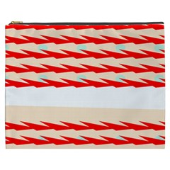 Chevron Wave Triangle Red White Circle Blue Cosmetic Bag (xxxl)  by Alisyart