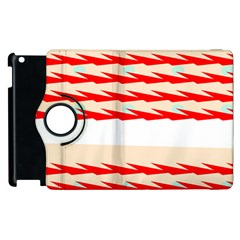 Chevron Wave Triangle Red White Circle Blue Apple Ipad 2 Flip 360 Case by Alisyart