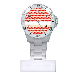 Chevron Wave Triangle Red White Circle Blue Plastic Nurses Watch by Alisyart