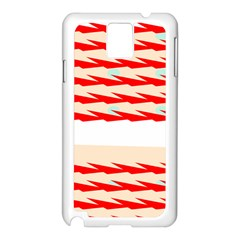 Chevron Wave Triangle Red White Circle Blue Samsung Galaxy Note 3 N9005 Case (white) by Alisyart