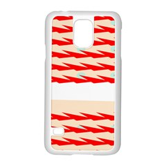 Chevron Wave Triangle Red White Circle Blue Samsung Galaxy S5 Case (white)