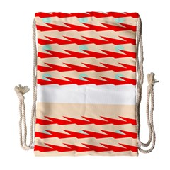 Chevron Wave Triangle Red White Circle Blue Drawstring Bag (large) by Alisyart