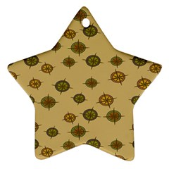 Compass Circle Brown Ornament (star) by Alisyart