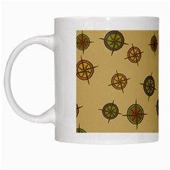 Compass Circle Brown White Mugs by Alisyart