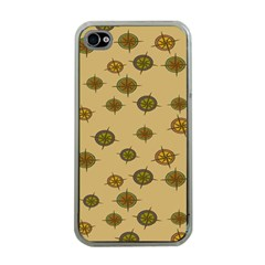 Compass Circle Brown Apple Iphone 4 Case (clear) by Alisyart