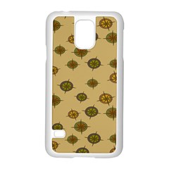 Compass Circle Brown Samsung Galaxy S5 Case (white) by Alisyart