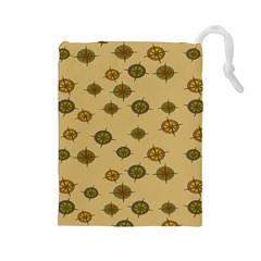 Compass Circle Brown Drawstring Pouches (large)  by Alisyart