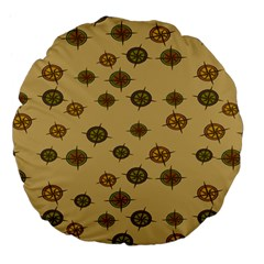 Compass Circle Brown Large 18  Premium Flano Round Cushions by Alisyart