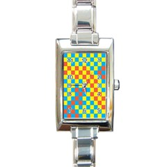 Optical Illusions Plaid Line Yellow Blue Red Flag Rectangle Italian Charm Watch