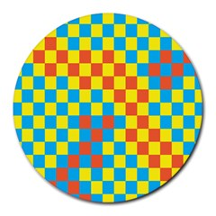 Optical Illusions Plaid Line Yellow Blue Red Flag Round Mousepads by Alisyart