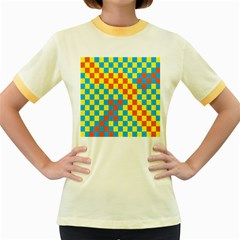 Optical Illusions Plaid Line Yellow Blue Red Flag Women s Fitted Ringer T Shirts