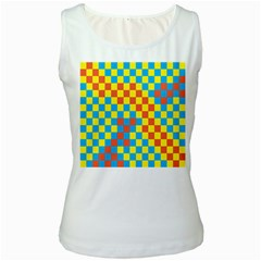 Optical Illusions Plaid Line Yellow Blue Red Flag Women s White Tank Top