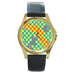 Optical Illusions Plaid Line Yellow Blue Red Flag Round Gold Metal Watch by Alisyart