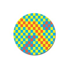 Optical Illusions Plaid Line Yellow Blue Red Flag Magnet 3  (round) by Alisyart