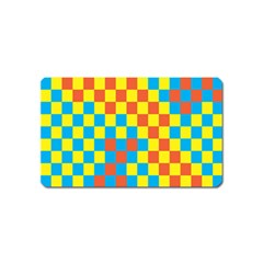 Optical Illusions Plaid Line Yellow Blue Red Flag Magnet (name Card)